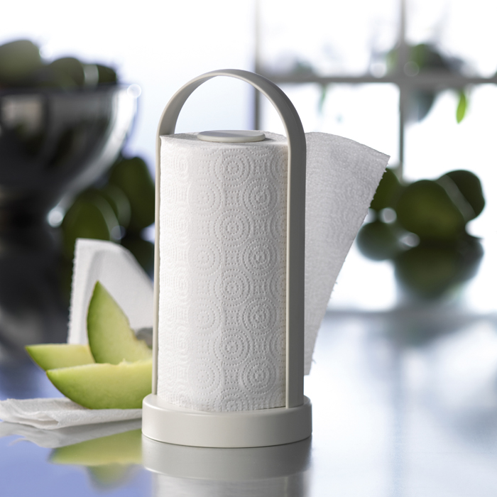 Brix design a s rome kitchen roll holder - Lavish white and grey kitchen for hygienic and bright view ...